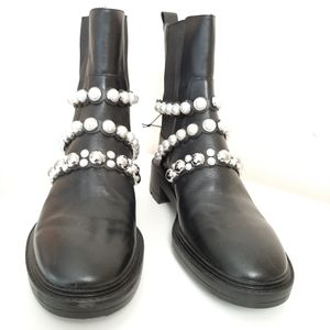 Zara Pearl Strap Low Heeled Ankle Boots